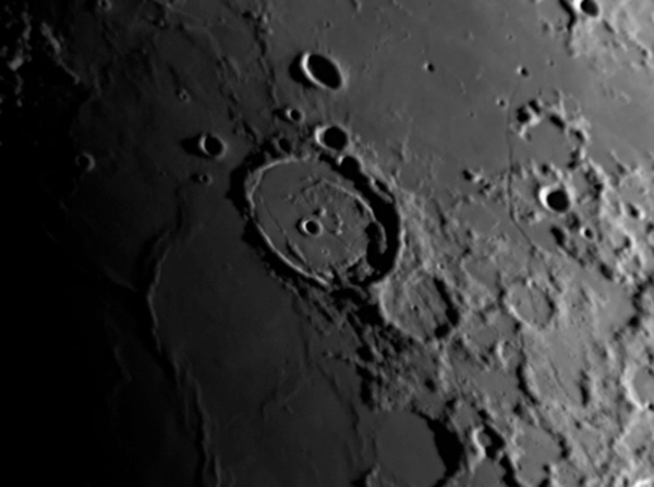 Posidonius, imaged by Larry Todd using a DMK 31 CCD camera and 200 mm MCT (Orion OMC200).