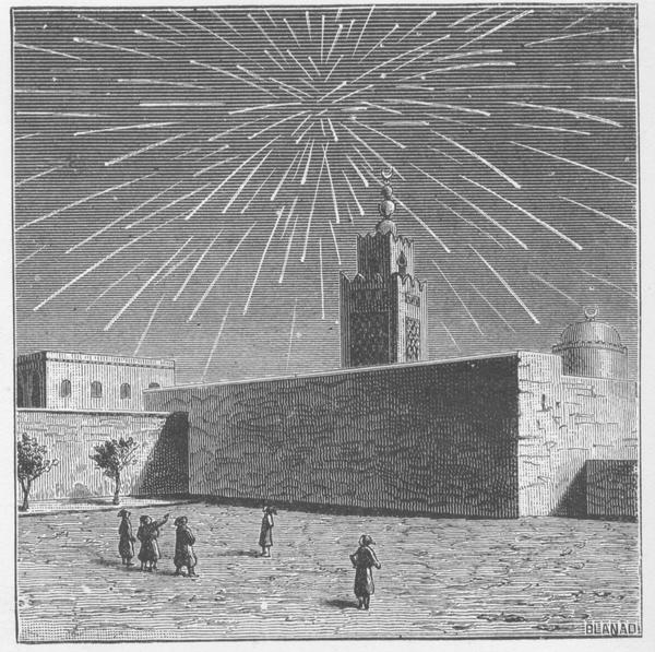 Old engraving of meteor storm. Galaxy Picture Library