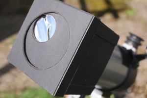 "An ""Off-axis"" mask with a small solar filter over the telescope aperture making it safe to use a compound telescope for solar viewing, taken by Geoff Elston"