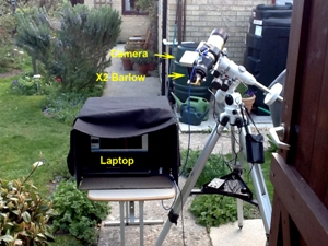 Image of telescope and laptop set up for solar observing, taken by Mick Jenkins