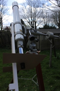 Image of telescope pointing skywards, taken by Geoff Elston